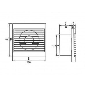 Ventilator casnic de perete Dospel RICO 120 - cu senzor umiditate si temporizator