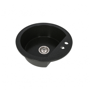 Set Chiuveta bucatarie granit rotunda CasaBlanca RONDO NEGRU + Baterie bucatarie granit BLACK4H