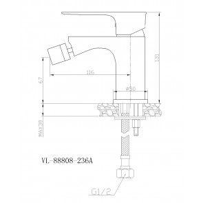Baterie bideu CasaBlanca LAVEO NEGRU-CROM BLV6-N