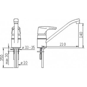 Baterie chiuveta de bucatarie cu economie de apa ORAS SOLINA 1592F