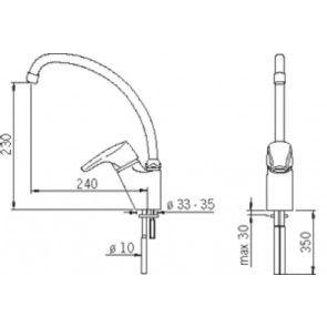 Baterie chiuveta de bucatarie gat de lebada ORAS SOLINA 1593F