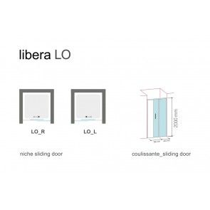 Sistem usa glisanta pentru dus in nisa Glass LIBERA LO, 100cm