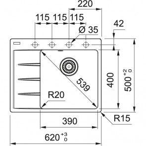 Chiuveta de bucatarie Fragranit Franke Centro CNG 611-62, negru mat