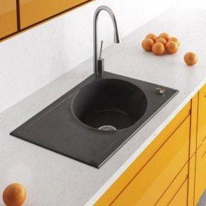 Chiuvetă bucătărie granit compozit anticalcar 1 cuvă ovală și un picurător TONO / TORA
