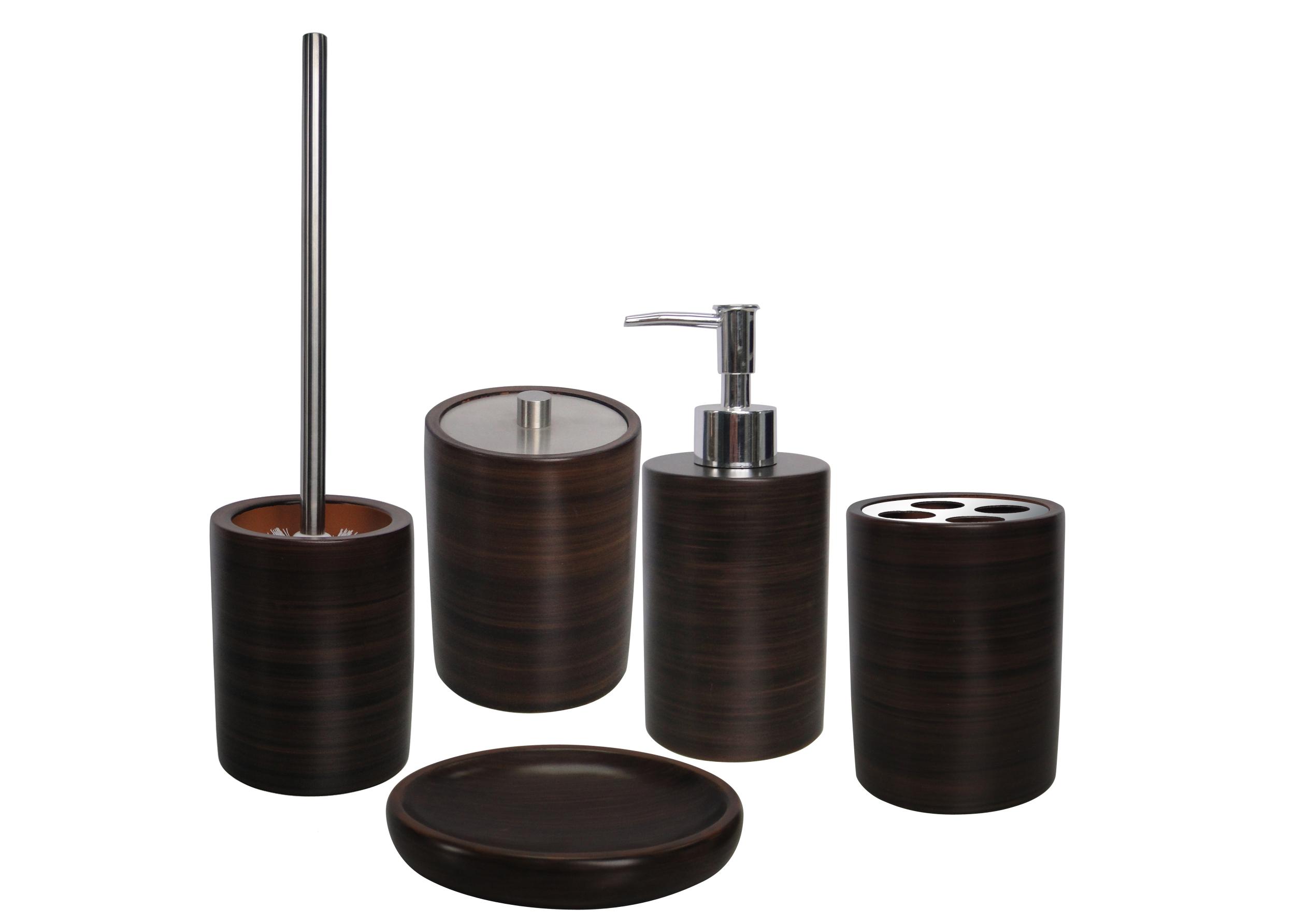 Set de accesorii pentru baie AWD ETNIC Wenge