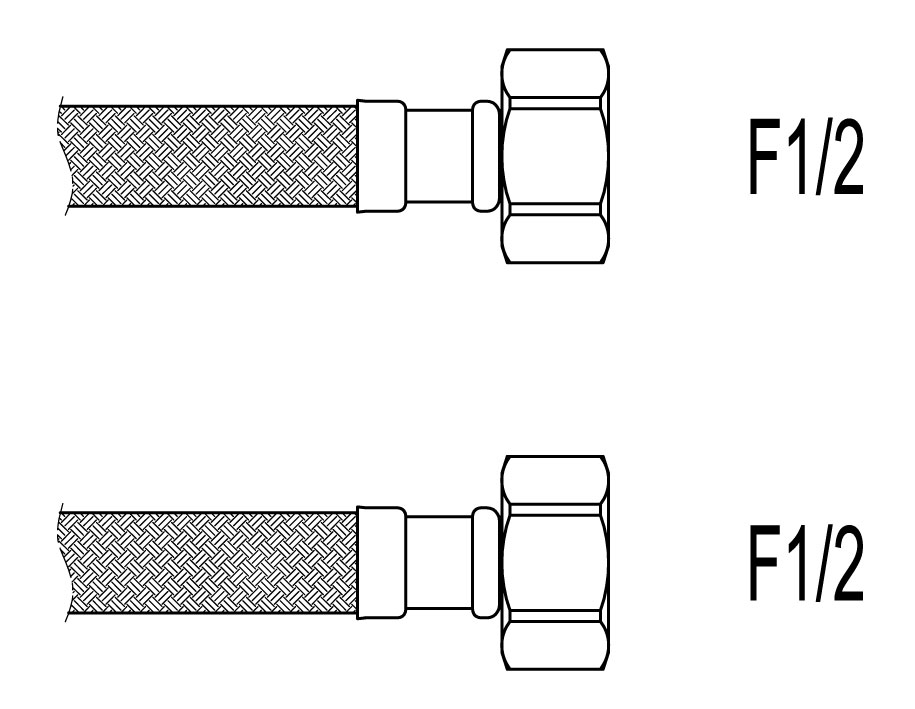 "Racord flexibil apa i-i, F1/2""xF1/2"", 40 cm Techman PWS3 imagine"