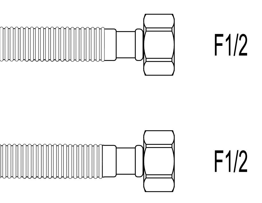 """Racord flexibil apa INOX gofrat F1/2""""xF1/2"""", 70 cm, Techman GWS6"""