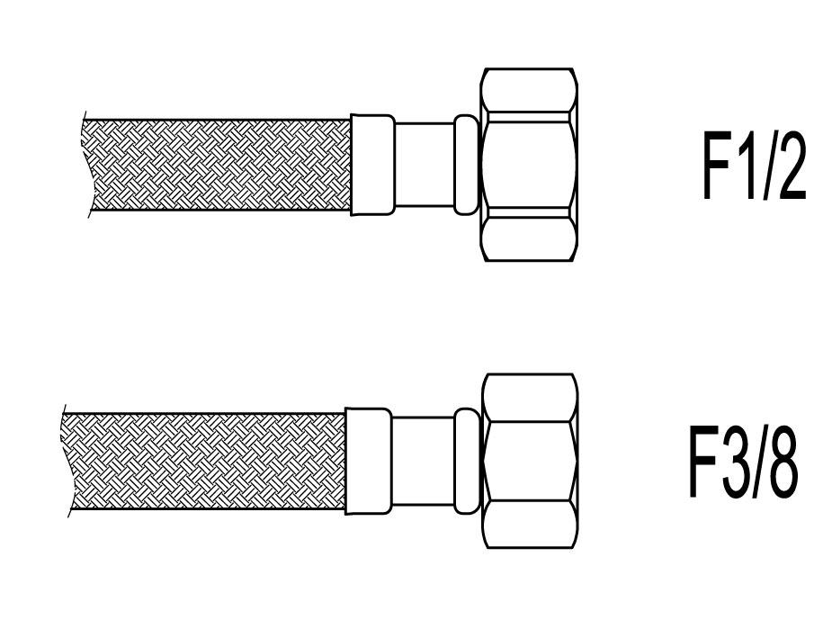 "Racord flexibil apa i-i, F1/2""x F3/8"", 40 cm Techman PWS83"