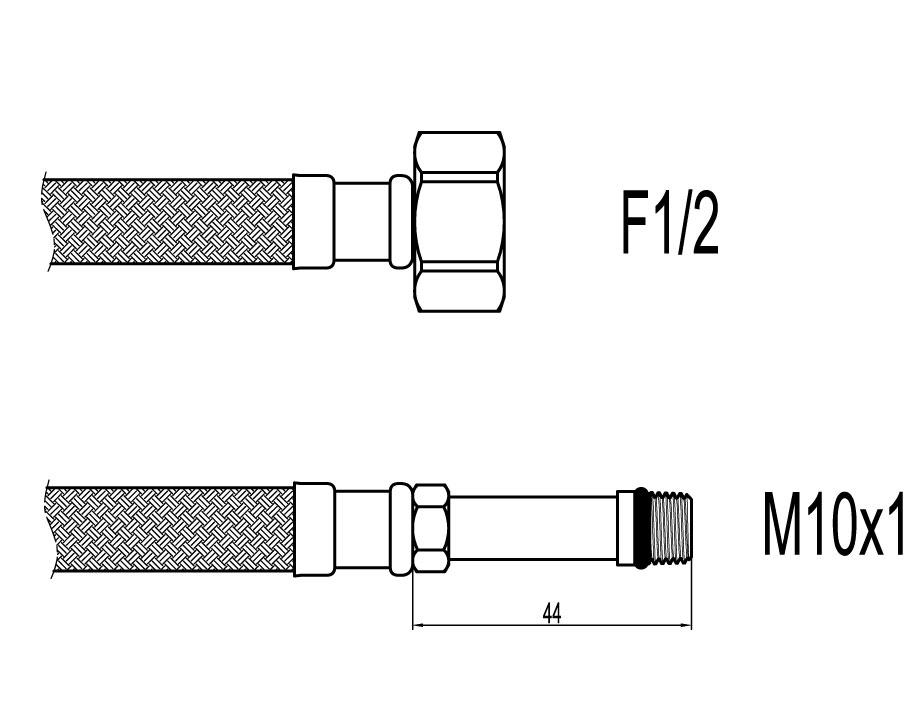 "Racord flexibil baterii F1/2""xM10 cu capat lung, 60cm, Techman WBS26"