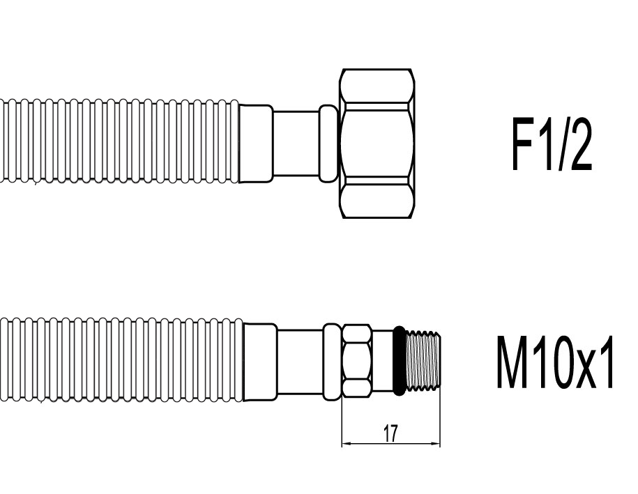 "Racord flexibil din INOX gofrat F1/2""xM10 cu capat scurt, 80cm, Techman GBS28"