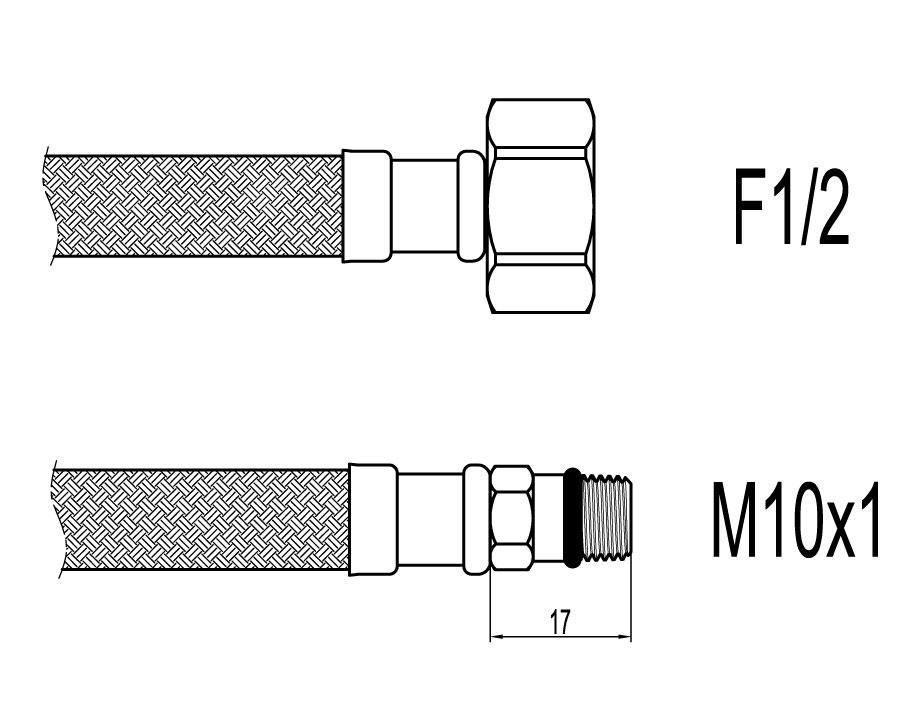 "Racord flexibil baterii F1/2""xM10 cu capat scurt, 100cm, Techman WBS86"