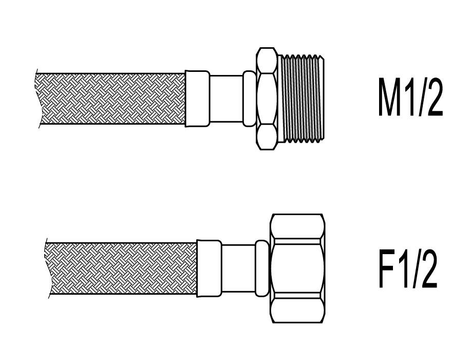 """Racord flexibil apa i-e, M1/2""""xF1/2"""", 40 cm Techman PWS31"""