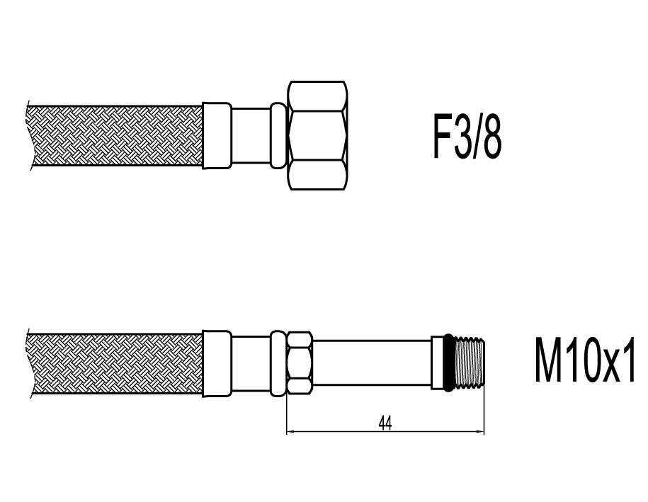 "Racord flexibil baterii F3/8""xM10, capat lung, 60cm, Techman WBS638"