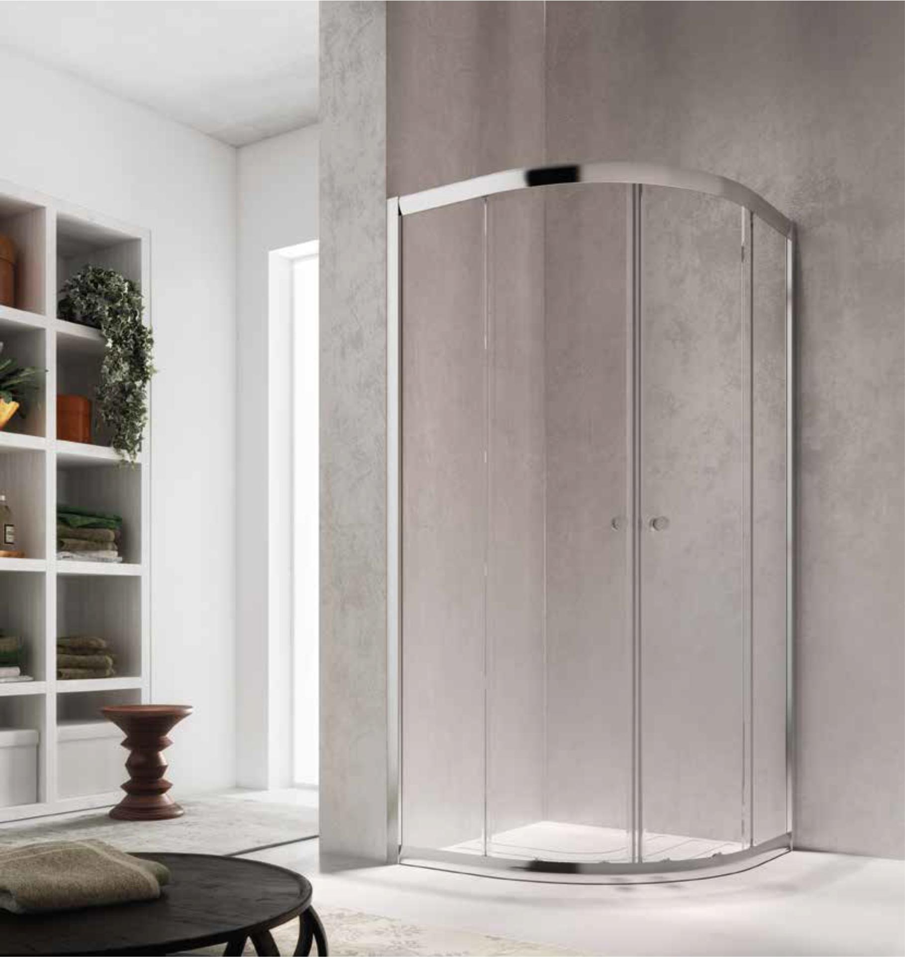 Cabina de dus semirotunda cu usi glisante Glass Isy IY, 80x80cm