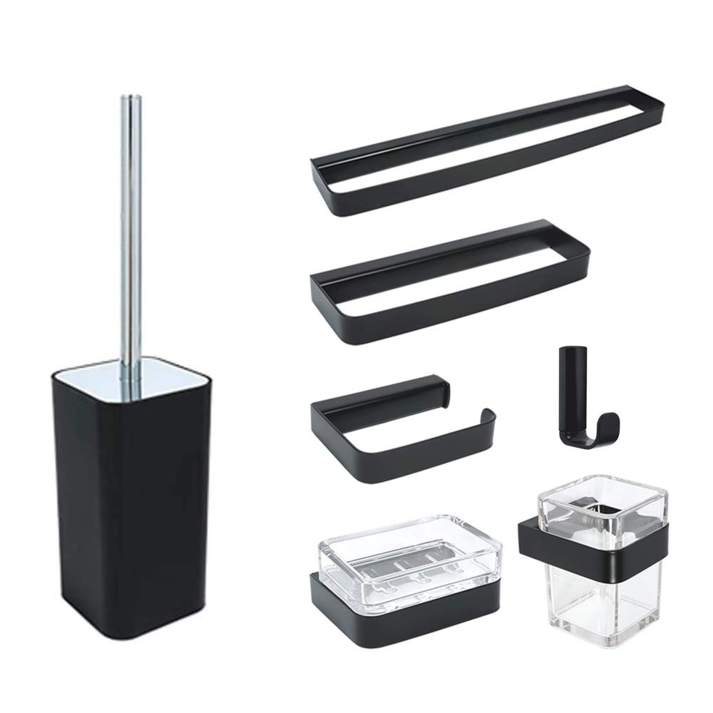Set de accesorii pentru baie Metaform 25 BLACK, negru mat