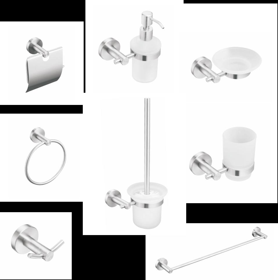 Set de accesorii pentru baie CasaBlanca STEEL, INOX masiv, finisaj periat