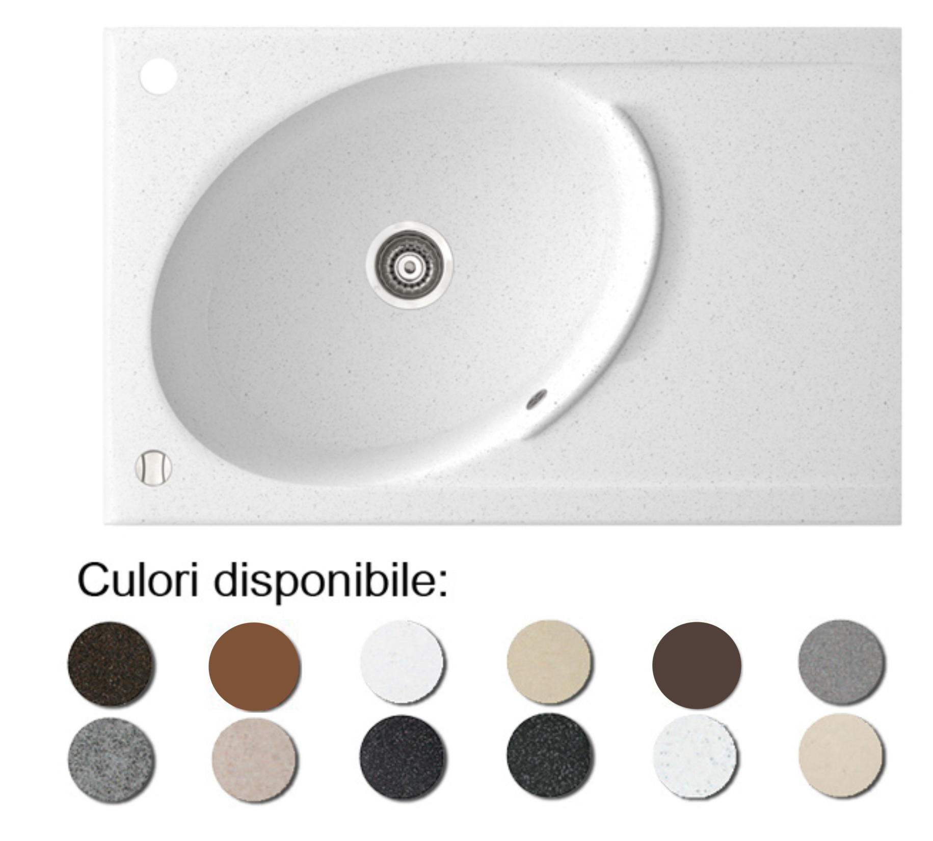 Chiuveta Bucatarie Granit Compozit Anticalcar Cuva Ovala Picurator Imagine