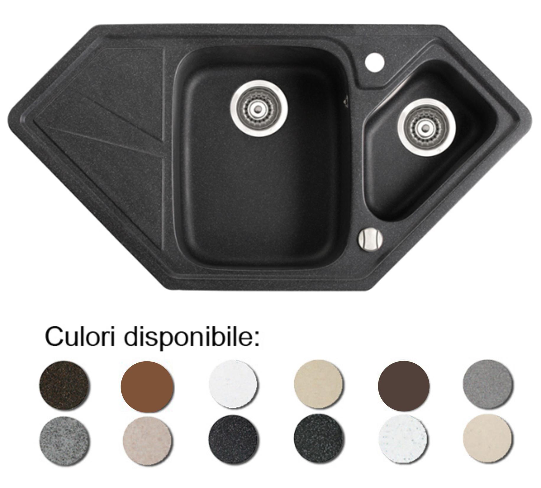 Chiuveta Bucatarie Granit Compozit Anticalcar Trapezoidala Cuve Picurator Imagine
