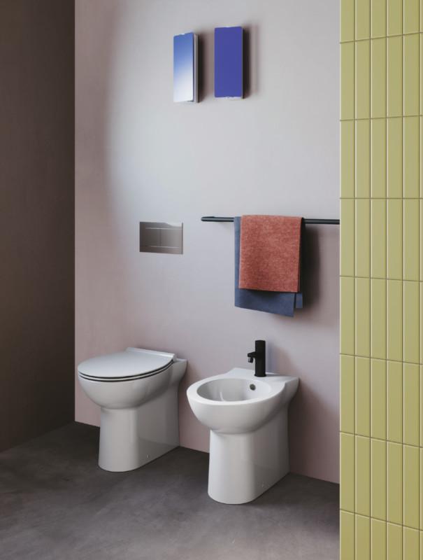 Set vas WC back to wall capac soft close + bideu Fast, ceramica imagine