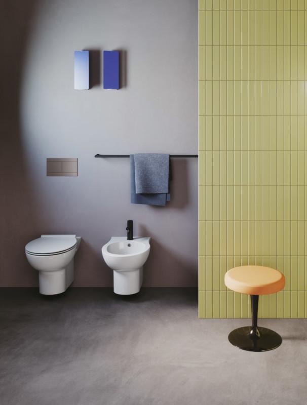 Set vas WC suspendat capac soft close + bideu suspendat Fast, ceramica imagine